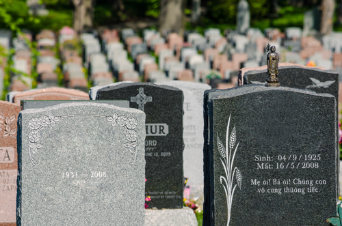 headstones at a cemetery